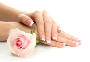 French Manicure with Traditional Polish
